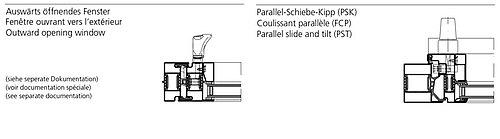 outward opening / parallel, slide, tilt