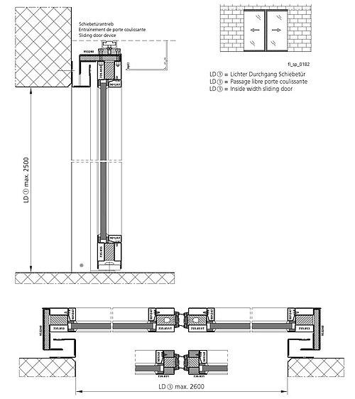 zweiflügelige Brandschutz-Schiebetür EI30 in Mauerwerk, forster fuego light