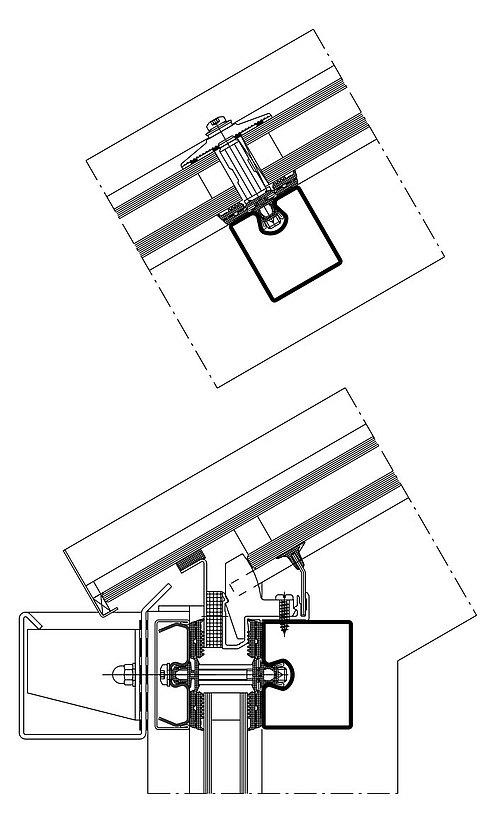 Schrägverglasung mit Wärmedämmung in Stahl. Profilsystem: forster thermfix vario.