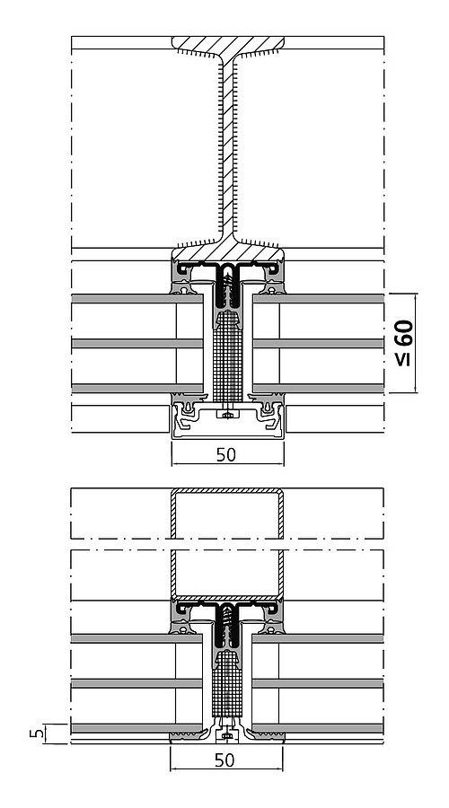 Wärmegedämmte Fassade mit Aufsatzprofilen: forster thermfix light