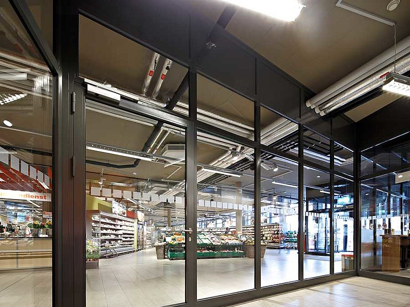 fire-rated door and glazing in steel forster fuego light. Residential and commercial building Krone, Switzerland