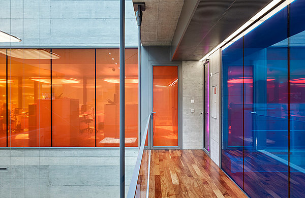 Fire-resistant doors and butt-joint glazing.