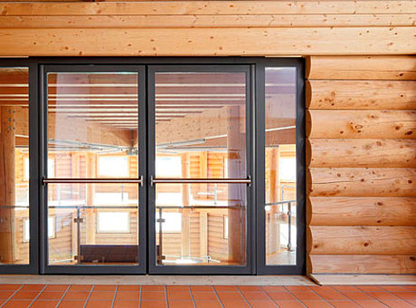 thermal insuated entrance door with finger protection. profile system: forster unico