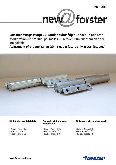 Sortimentsanpassung: 2D Bänder zukünftig nur noch in Edelstahl