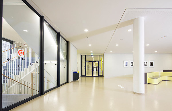 fire-resistant doors T30 and smoke-resistant doors RS in steel. Systems: forster fuego light and forster presto. Secondary school Bürgerwiese, Dresden