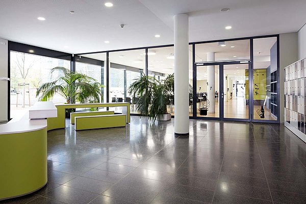 fire-rated doors T30 and smoke-resistant doors RS in fixed glazing. Systems: forster fuego light and forster presto. Secondary school Bürgerwiese, Dresden