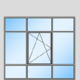 1-flügeliges Fenster in Trennwand