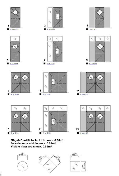 Glasausschnitt-Varianten für verblechte Brandschutztüren, forster fuego light