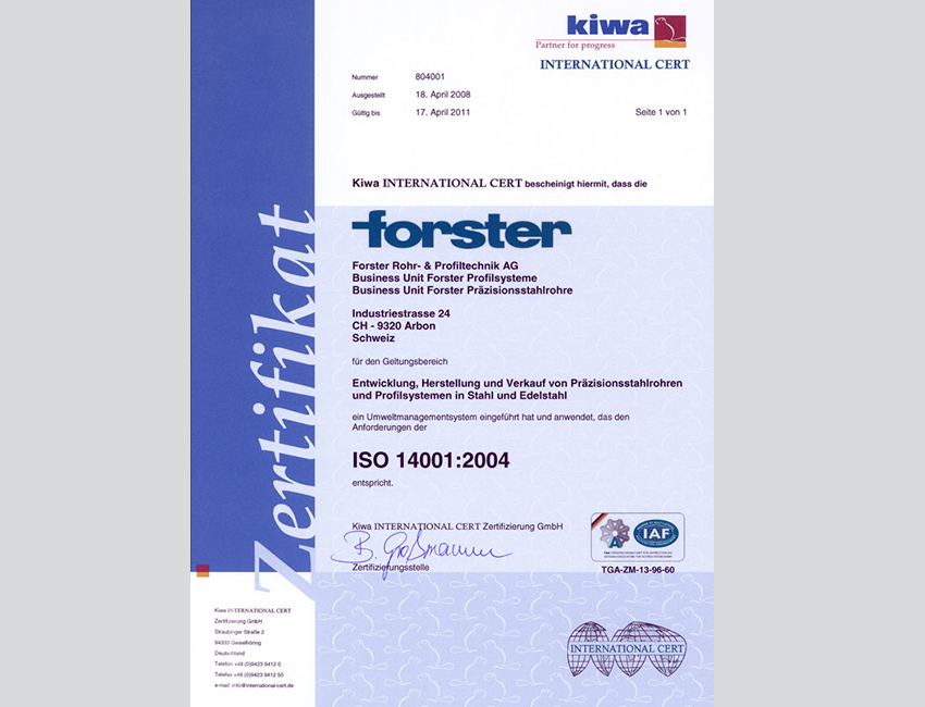 forster optains the ISO 14001 certification