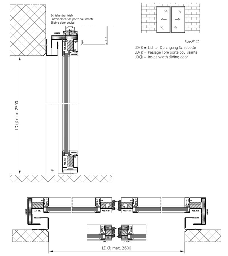 Fire resistant sliding door ei30 forster profilsysteme ag for Dimension porte double vantaux